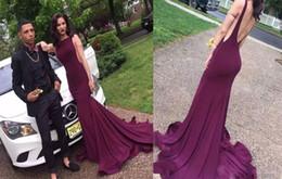 $enCountryForm.capitalKeyWord NZ - New Sexy Maroon Elastic Satin Backless Burgundy Mermaid Evening Dresses Sleeveless O Neck Party Court Train Prom Dress Formal Gown
