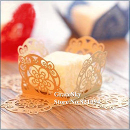 cupcakes types Australia - 100x Free Shipping Laser Cut Lace FlowerCandy Chocolate Dessert Paper Cupcake Wrapper for Wedding Birthday Party,Muffin holder Cupcake Liner