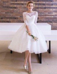 $enCountryForm.capitalKeyWord NZ - Vintage Style Tea length Wedding Dress 3 4 Sleeve Lace Tulle Ribbon Sash A Line Short Top Quality Bridal Gowns Custom Made