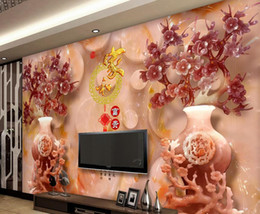 Modern Living Room WallpapersJade Carved Vase Plum Home And Rich Blessing  White Wallpaper