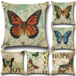 H Case Australia - Printing Pillow Cover w  Butterfly Pattern 45x45cm Cotton & Linen Pillow case Throw Pillow Cushion Case Home Decorative Pillowcase h-0044
