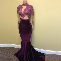 Barato Vestido De Veludo Roxo Longo-Real Picture Two Pieces Prom Dresses 2017-Sheer Alto Pescoço Long Sleeve Velvet Purple Africano Evening Gowns Mermaid Evening Dresses