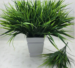 Green Plastic Grass Plant Canada - 2016 New 7-fork Green Grass Artificial Plants For Plastic Flowers Household Store Dest Rustic Decoration Clover Plant HJIA1016