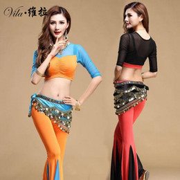 Barato Dança Do Ventre Traje Conjunto Azul-Hot selling New style indian dancing set clothes traje 3pcs belly dance wear top / pants / belt 3 in 1 set for lady