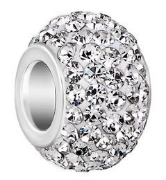 Mixed big hole rhinestone beads online shopping - 50 mm mm White mixed color Rhinestone Silver Plated resin Core Big Hole Crystal European Beads Loose Beads Bracelets Findings