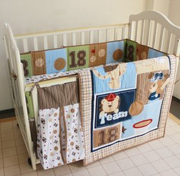 $enCountryForm.capitalKeyWord NZ - 8Pcs Baby bedding set Embroidered bear Baseball combination Crib bedding set Quilt Bumper Bed Skirt Diaper bag Cot bedding set