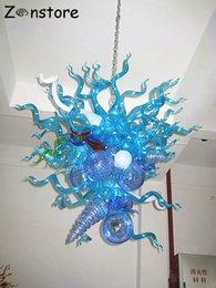 Venta al por mayor de Diseño de la vendimia forma única azul lámpara de cristal soplado luces LED hecho a mano de cristal de Murano de iluminación de la lámpara