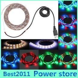 Discount tape usb - 50cm 100cm 150cm 200cm DC 5V USB Cable RGB LED Strip light String 3528 SMD Decorative Ribbon lamp Tape For TV Background