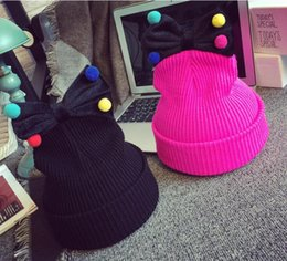 Colorful Knit Hats NZ - Girls Winter Hats Lovely Solid knitted Wool Hats Cap for girls kids children lovely colorful Ball Bowknot beaneies hedging HJIA738