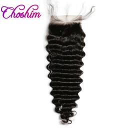 $enCountryForm.capitalKeyWord Australia - Deep Wave Lace Closure Human Hair Natural Color Brazilian Choshim KL 4x4 Three Part Remy Hair Closure Bleached Knots With Baby Hair