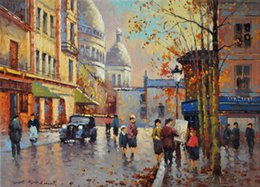 $enCountryForm.capitalKeyWord Canada - Paris Autumn Streetscape by Yuri Kuzmin (Russian, b. 1949),Pure Handpainted Russian Art oil painting on High Quality Canvas For Home Decor
