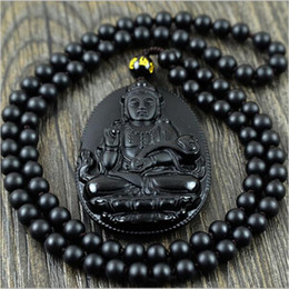 ruyi necklace 2019 - Natural Obsidian Necklace Fashion Black Ruyi Guan Yin Pendant For Women Men Vintage Fine Jade Jewelry Ornaments 55*35mm