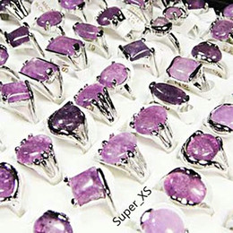Discount amethyst plates - Fashion Natural Amethyst Stone Silver Plated Rings For Women Fashion Bezel Setting Whole Jewelry Bulk Ring Lots LR022 Fr