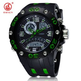 $enCountryForm.capitalKeyWord UK - Original OHSEN electronic quartz mens fashion watch male clock big size dial rubber band green military sports LCD wristwatches Hombre Watch