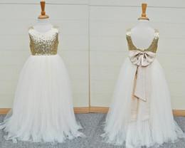 $enCountryForm.capitalKeyWord NZ - 2017 Gold Sequins Flower Girls Dress Sleeveless Open Back Baby Infant Toddler Kids Dress Junior Floor-Length For Wedding Pageant Tulle Gowns