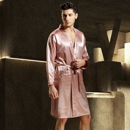 New Free Shipping 2017 Full Sleeve Men Robes Emulation Silk Bathrobe Sexy V-Neck  Sleepwear Soft Casual Male Robe Time-Limited 3316 f251d51b8