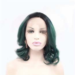 $enCountryForm.capitalKeyWord UK - Wavy Short Bob Style Heat Resistant Forest Green Ombre Color Dark Roots Natural Synthetic Lace Front Bob Hair for Women