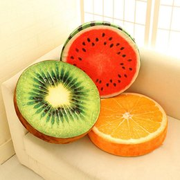 thanksgiving party decoration Australia - Round Soft Pillow Plush Cushion Orange Kiwi Watermelon Fruit Seat Toys Seat Pads Party Decoration