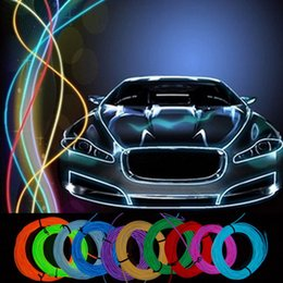 NeoN rope wire car online shopping - 3M Flexible Neon Light Glow EL Wire String Strip Rope Tube Light Car Dance Party Costume Controller Decorative Christmas Holiday Light