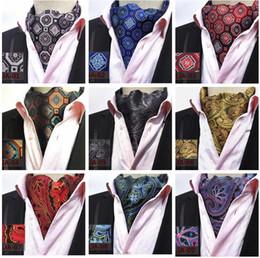 Wholesale Mens cravat ties Vintage Polka Dot floral Wedding Formal Cravat Ascot Scrunch Self British style Gentleman Polyester Silk Neck Tie Luxury