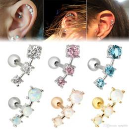 9446f6251 Fashion Earrings Cartilage Piercing Shellhard Barbell Opal Stone Crystal Ear  Stud Piercing Tragus For Women Body Jewelry 16G