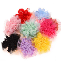 Girls hair rosettes online shopping - Baby Girls Hair Accessories Chiffon Lace Flower Puff Flower for Newborn Baby Artificial Flowers Rosette Flower No Hairclip