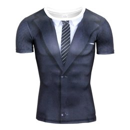 $enCountryForm.capitalKeyWord UK - 2017 Hot Sale 3D T Shirt Men Fake Suit Uniform Print Short Sleeve Compression Shirt Skin Tight O-Neck Casual Funny T Shirts Tops