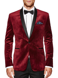 Bordo Kadife Slim Fit 2016 Damat Smokin Düğün Sıska Siyah Şal Yaka Custom Made Groomsmen ile Suits Best Man Balo Suits
