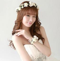 $enCountryForm.capitalKeyWord Canada - Wedding Headband Wrist flowers Ribbon Adjustable Hairbands Boho Floral Crown Gift bride Hair Accessories Girl Kid Wreath Decor
