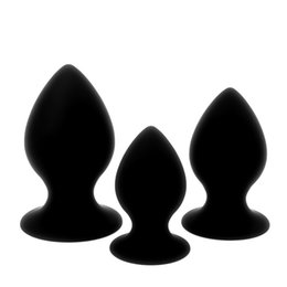 $enCountryForm.capitalKeyWord Canada - Black Silicone Big Butt Plug, 3 Sizes Strong Suction Cup Smooth Soft Large Anal Plug, Gay Adult Erotic Toys, Sex Toys for Men