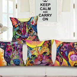 Dogs Cats Art Canada - Animal series POP Art dogs Cat printed cushion cover cotton linen throw pillow case cushion cover for home sofa decor pillow cover