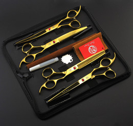 """Shears Sets Canada - #686 7"""" High Quality Golden Pet Grooming Hair Scissors Set,Cat Dog Fur Clipper Shears,1 Straight + 2 curved + 1 Thinning + 1 Bag"""