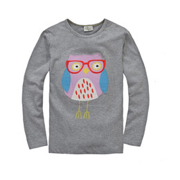 Wholesale Grey Owl Girls T shirts Children brand new tee shirts Cotton month to year Kids tops sleeved t shirt