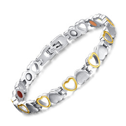$enCountryForm.capitalKeyWord Canada - 2 Tone Stripes Bracelet Strong Magnetic Bracelets For Women Heart Design Love Charm Bangle Fashion Stainless Steel Jewelry Bracciali Uomo