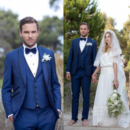 Three Piece Suit Bow Australia - New Arrival Blue Men Wedding Suits Slim Fit Bridegroom Tuxedos Groomsmen Suit Three Pieces Formal Business Jackets With Bow Tie