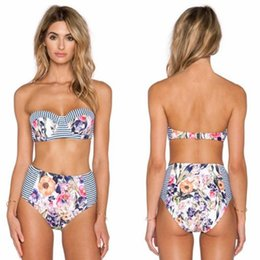 Barato Biquíni Magro Slim Sexy-Tropical Beach Style Bathing Suit Slim Push Up Bikini Conjuntos Swimwear fresco Sexy Swimwear Inferior Alta Cintura Bandeau Bra Floral Swimsuit
