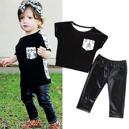 $enCountryForm.capitalKeyWord Canada - cool black boys suits Toddler Kids Baby Girls Outfit Clothes pocket attached T-shirt Tops+Long Pants Trousers 2PCS fashion children top Set