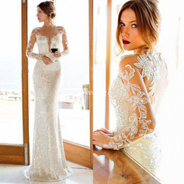 Sparkly bodice party dreSS online shopping - 2019 Nurit Hen Sparkly White Sequined Sheath Wedding Dresses Plunging V Shape Cut Sheer Jewel Neck Long Sleeves Bridal Reception Party Gown