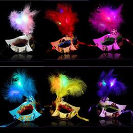 $enCountryForm.capitalKeyWord Australia - Women Glowing Feather Masks Masquerade Halloween Party Half Face Masks for Bar Club Dancing Show Festive Supplies Masks
