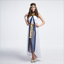 Egyptian Halloween Costumes Women Canada - New Arrival Luxury Egyptian Queen White Long Dress Sexy Cosplay Halloween Uniform Temptation Stage Performance Clothing Hot Sale