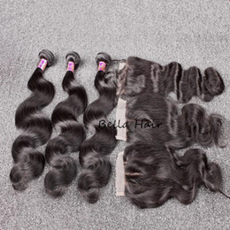 Full hair weaves online shopping - Bella Hair Hair Bundles With Closure A Peruvian Full Head Unprocessed Human Hair Weave with Closure Black Color Body Wave