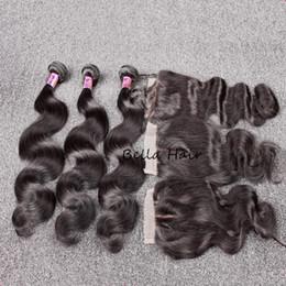 $enCountryForm.capitalKeyWord Canada - Bella Hair® Hair Bundles With Closure 8A Peruvian Full Head Unprocessed Human Hair Weave with Closure Black Color Body Wave Free Shipping