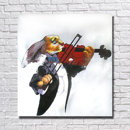 oil paintings rabbits UK - Rabbit play the violin picture abstract design hand painted animal oil painting for home wall decorative wall painting