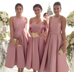 China Pink Satin Three Style Bridesmaid Dresses For Wedding 2018 Crew Off Shoulder Tea Length Maid Of Honor Gowns Elegant Formal Party Dresses cheap chocolate three suppliers