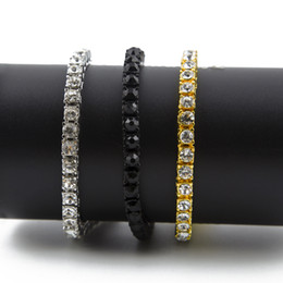 Iced Out 1 Row Rhinestones Bracelet Men Hip Hop Style Clear Simulated Diamond 7 8 9inches Bracelet Bling Bling on Sale