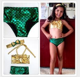 Children Hot Swimsuit Canada - 2016 New Hot Sale Cute Girls Mermaid Bikini Swimsuit Children Swimming Costume Swimsuits Swimwear 3pcs set Kids Bathing Suits For 2-7years