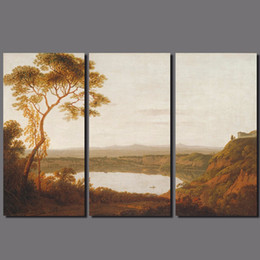 Lakes Canvas Sets Canada - Retro brown 3pcs set lake Mountain Landscape picture decoration tree Canvas Painting wall Art for living room oil print unframed