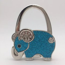 Magasin De Gros Artisanal Pas Cher-10 pcs / lot Elephant Zinc Alloy Crafts Bag Hanger / Gift Store Vente en gros Porte-sacs à main pliable Hook au Coffee Bar Restaurant