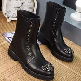 Alta calidad Otoño Mujeres de Cuero Genuino negro Botines botas de Motocicleta con Rhinstones Diseñador Femenino Calzado Calzado y092 en venta