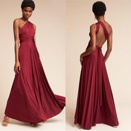Barato Estilos De Vestido Conversível-2018 8 estilos Burgundy Convertible Long One Shoulder A Line Vestidos de dama de honra Chiffon Custom Made Maid Of Honor Party Gowns Plus Size